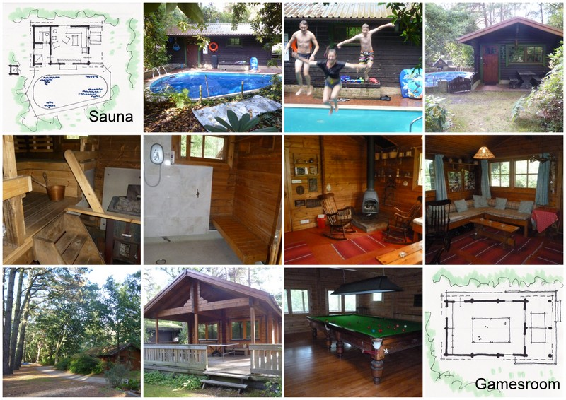 Collage of sauna and games room