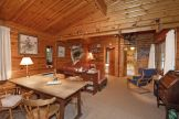 Living area of Karelia log cabin near the New Forest